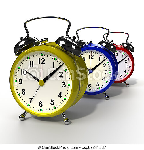 Group of alarm clocks on white background. 3D rendering - csp67241537