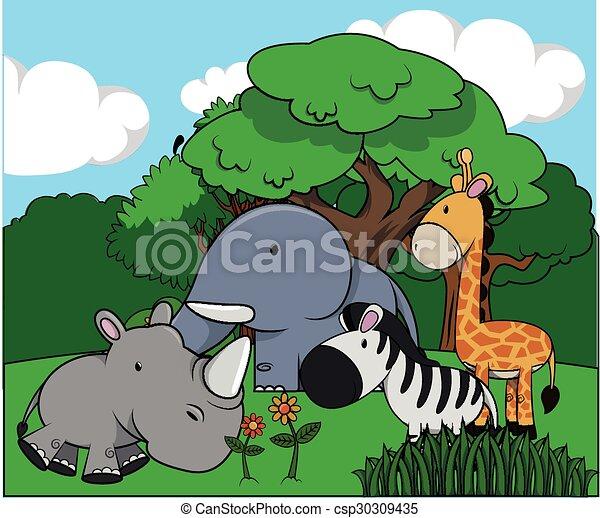 Group of animal at jungle - csp30309435