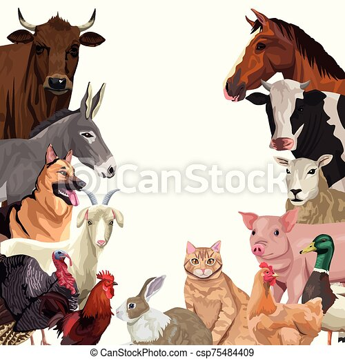 group of animals farm characters - csp75484409