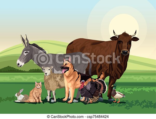 group of animals farm in the landscape scene - csp75484424