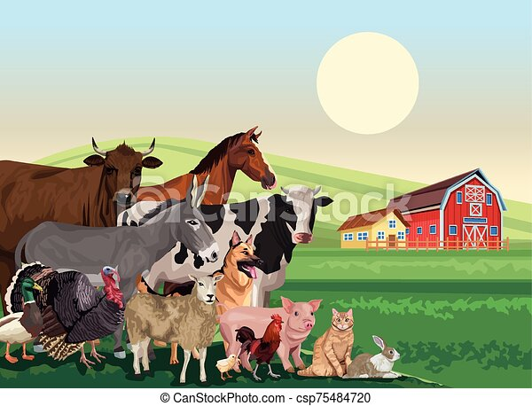group of animals farm in the landscape scene - csp75484720