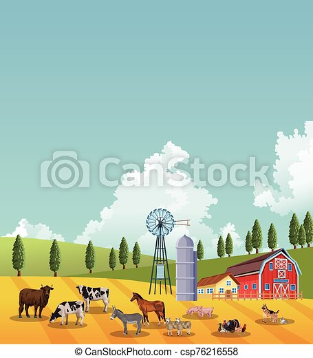 group of animals farm with stable in the camp - csp76216558