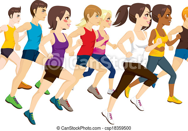 Group Of Athletes Running - csp18359500