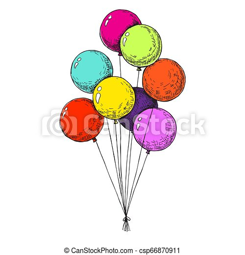Group of balloons on a string. Hand drawn, isolated on a white background. Vector illustration - csp66870911