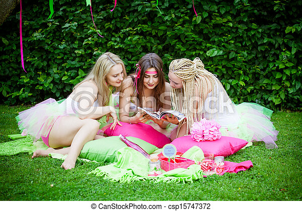 group of beautiful female friends smiling - csp15747372