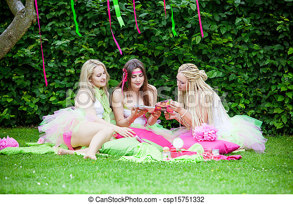 group of beautiful female friends smiling - csp15751332