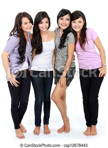 Group of beautiful women smiling - csp12678443