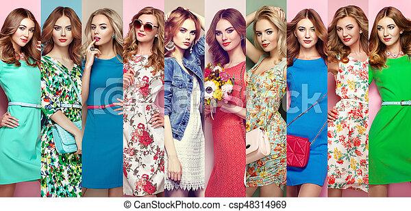 Group of beautiful young women - csp48314969