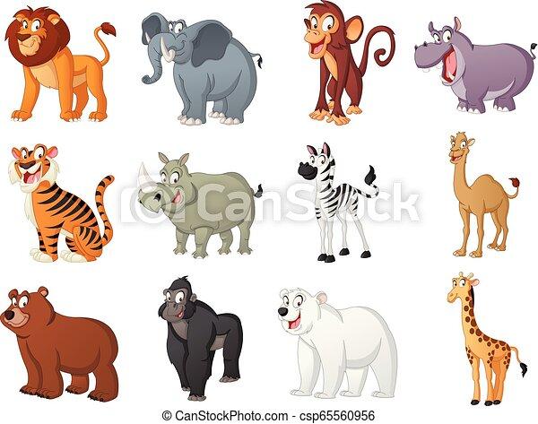 Group of big cartoon animals. Vector illustration of funny happy animals. - csp65560956