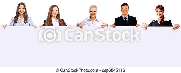 group of business people holding a banner  - csp6845116