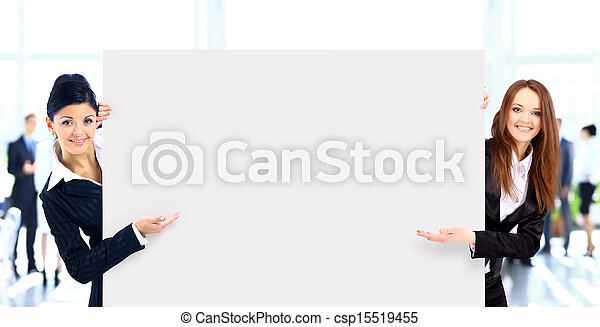 group of business people holding a banner - csp15519455
