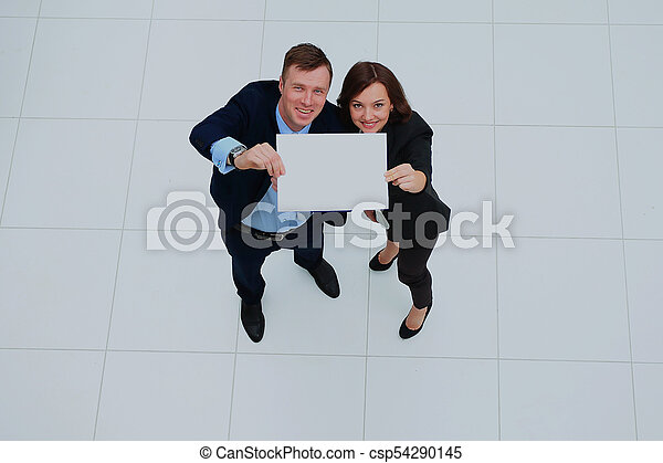 group of business people holding a banner. - csp54290145