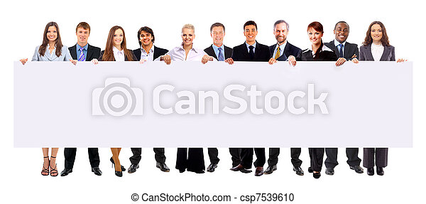 group of business people holding a banner ad isolated on white - csp7539610