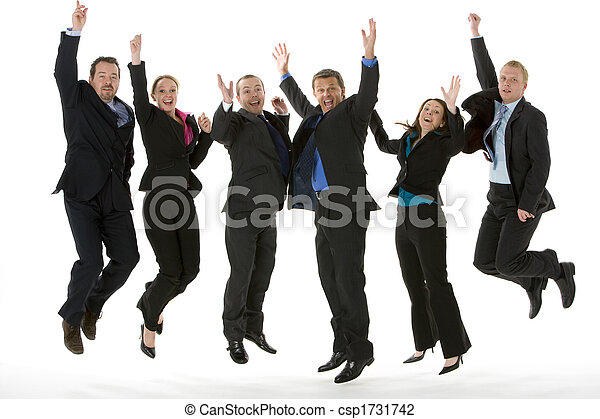 Group Of Business People Jumping In The Air  - csp1731742