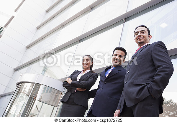 Group of business people outside office building - csp1872725