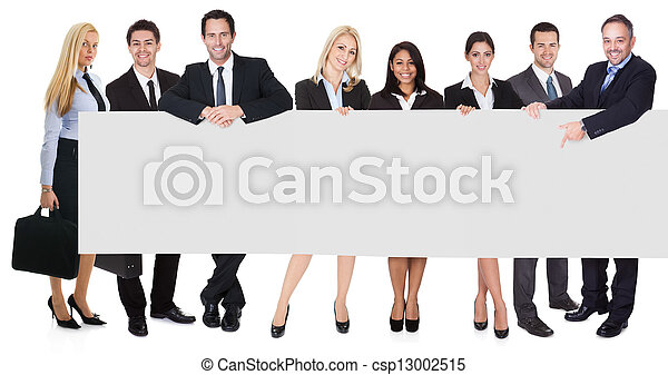 Group of business people presenting empty banner - csp13002515