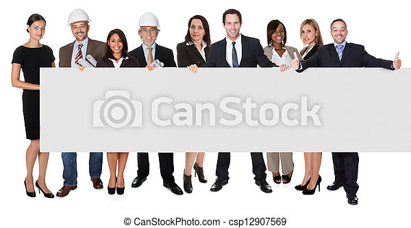 Group of business people presenting empty banner - csp12907569