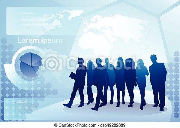 Group of business people silhouette walking over world map vector group of business people silhouette walking over world map background businesspeople team concept csp49282889 gumiabroncs Choice Image