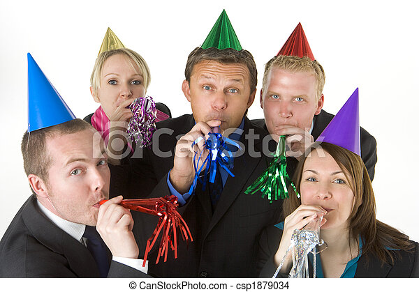 Group Of Business People Wearing Party Favors - csp1879034