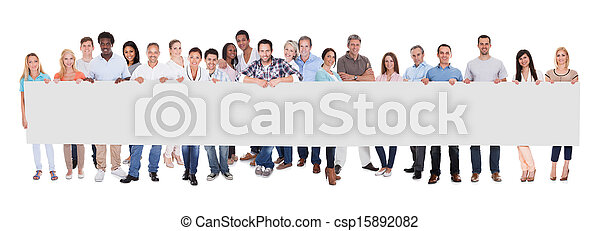 Group of business people with a blank banner - csp15892082