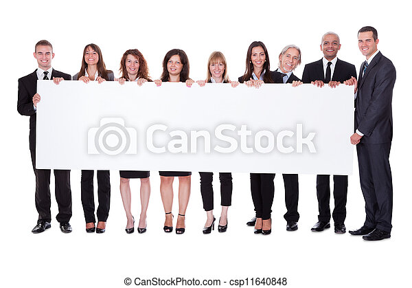 Group of business people with a blank banner - csp11640848