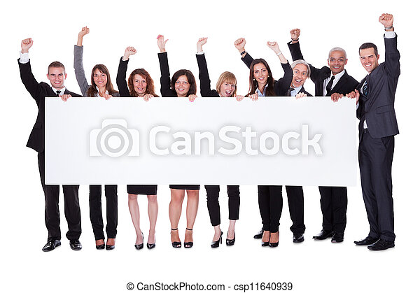 Group of business people with a blank banner - csp11640939
