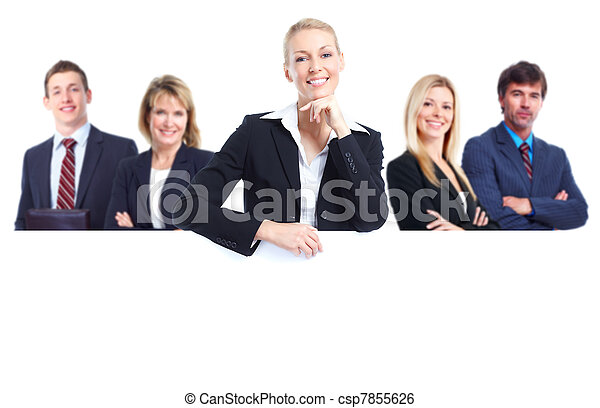 Group of business people with banner. - csp7855626