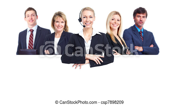 Group of business people with banner. - csp7898209