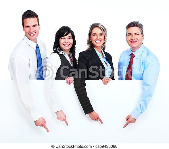 Group of business people with banner. - csp9438060