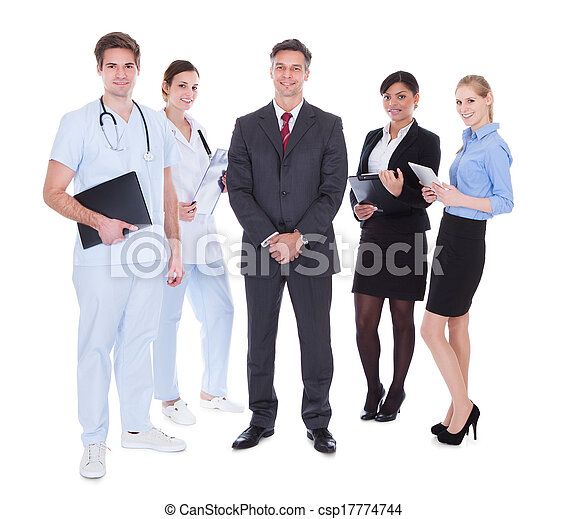 Group Of Businesspeople And Doctors - csp17774744