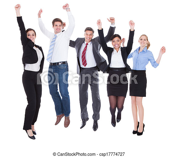 Group Of Businesspeople Raising Hands - csp17774727