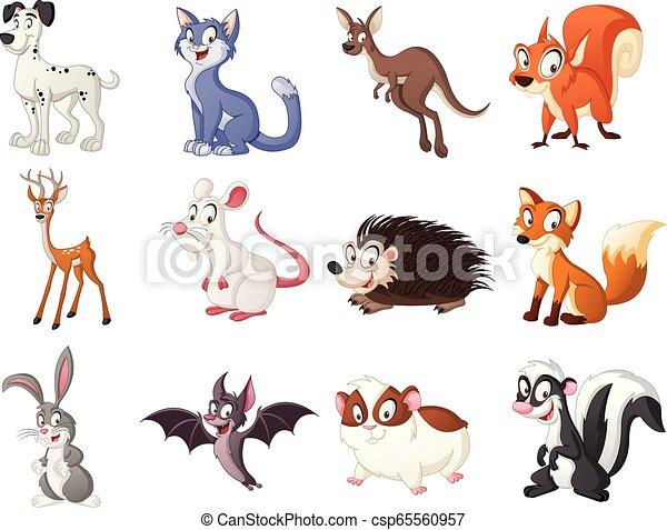 Group of cartoon animals. Vector illustration of funny happy animals. - csp65560957