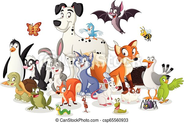 Group of cartoon animals. Vector illustration of funny happy animals. - csp65560933