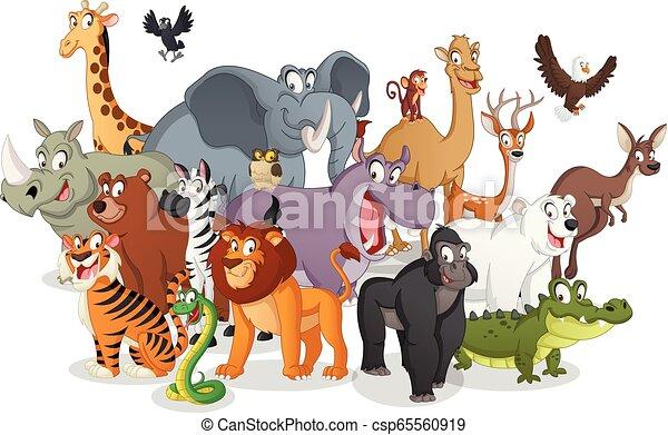 Group of cartoon animals. Vector illustration of funny happy animals. - csp65560919