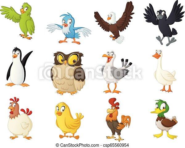 Group of cartoon birds. Vector illustration of funny happy animals. - csp65560954
