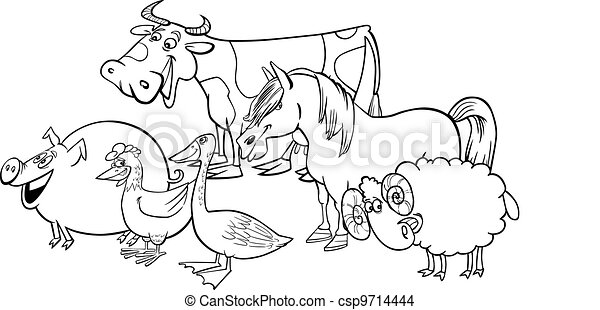 Group of cartoon farm animals for coloring - csp9714444