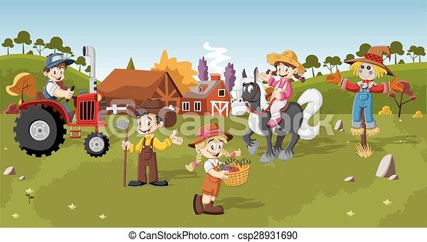 Group of cartoon farmers - csp28931690