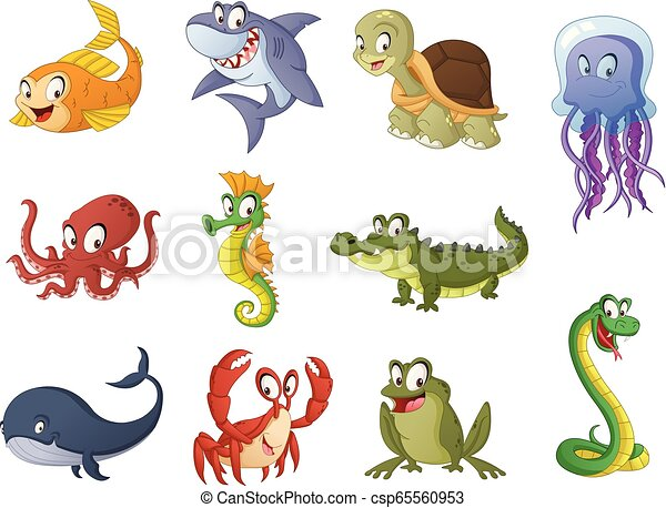 Group of cartoon fish, reptiles and amphibians. Vector illustration of funny happy aquatic animals. - csp65560953