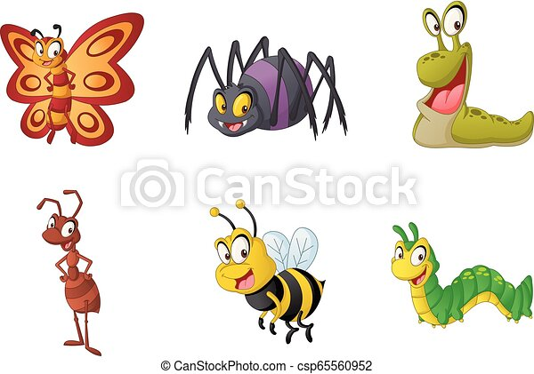 Group of cartoon insects. Vector illustration of funny happy small animals. - csp65560952