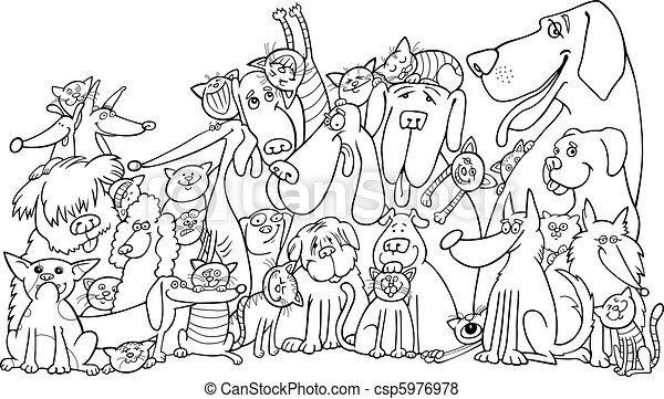Illustration of group of cats and dogs for coloring book.