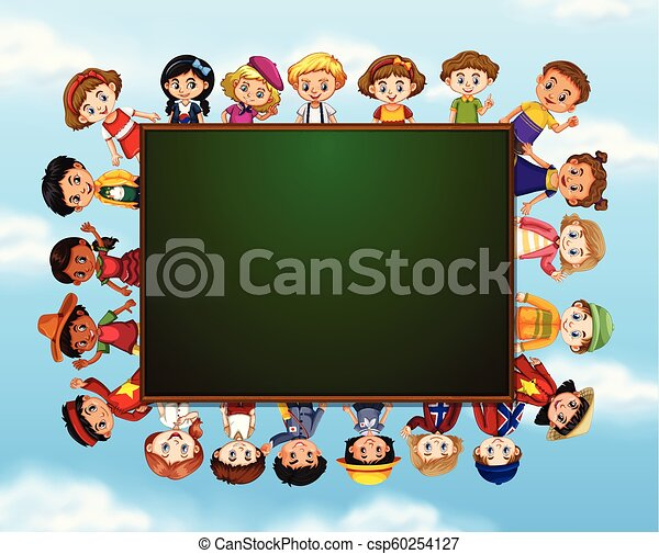 Group of children around chalk board - csp60254127