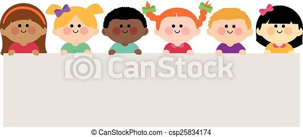 Group of children holding a blank banner.  Vector illustration - csp25834174