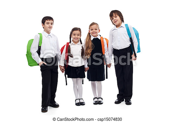 Group of children holding hands going back to school - csp15074830