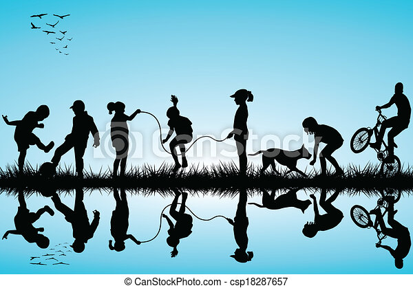 Group of children silhouettes playing - csp18287657