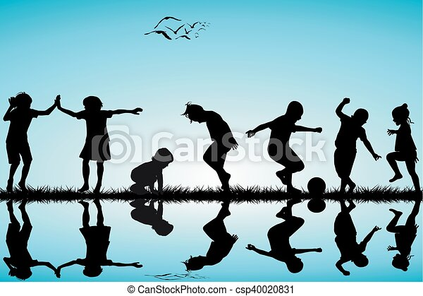 Group of children silhouettes playing - csp40020831