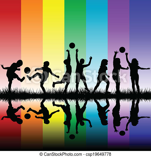 Group of children silhouettes playing - csp19649778