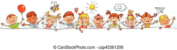 Group of children with blank board. Drawing like children - csp43361206