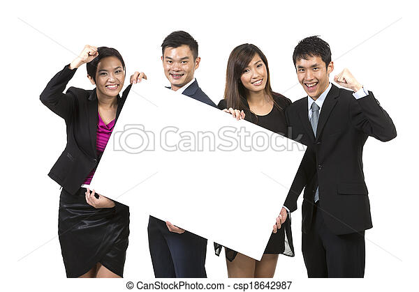 Group of Chinese businesspeople with a banner ad.  - csp18642987