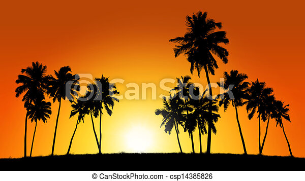 Group Of Coconut Trees On Sunset Background Stock Illustration