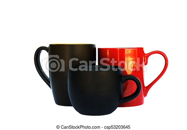 group of coffee cups on white backhrounds include clipping path - csp53203645